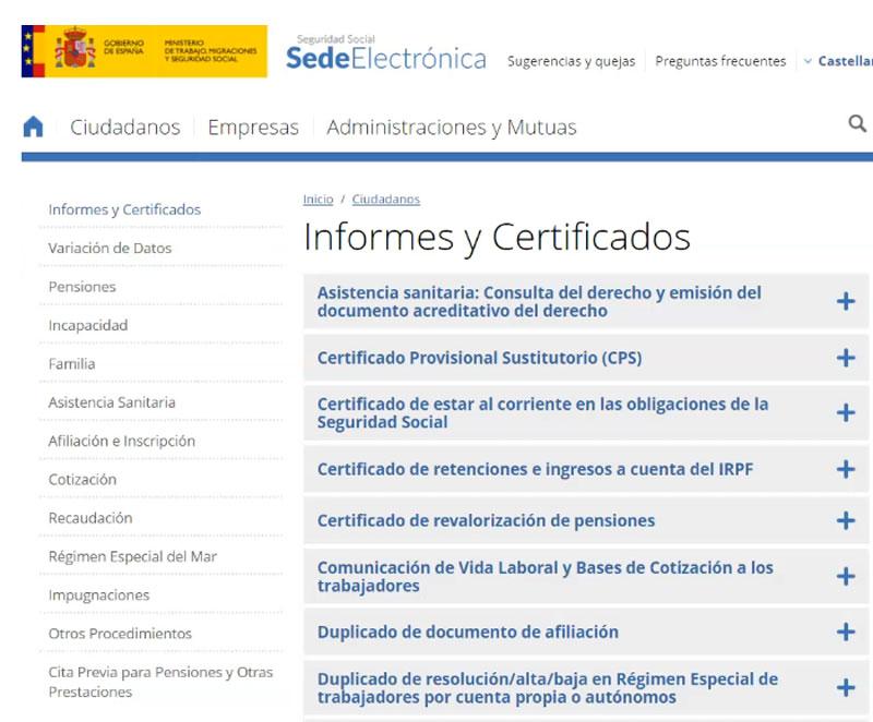 listado de informes y certificados
